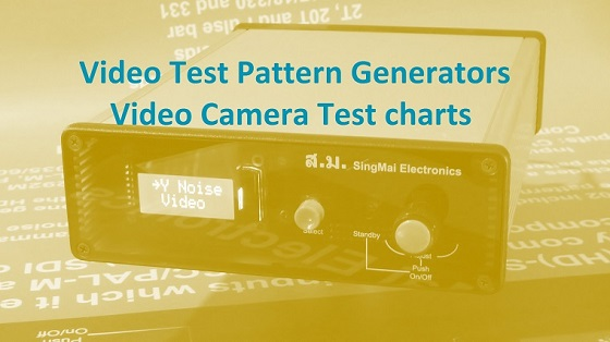 Video test pattern generators and video camera test charts